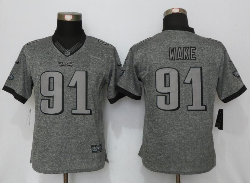 Womens Philadelphia Eagles 91 Cox Gray Stitched Gridiron Gray New Nike Limited Jerseys