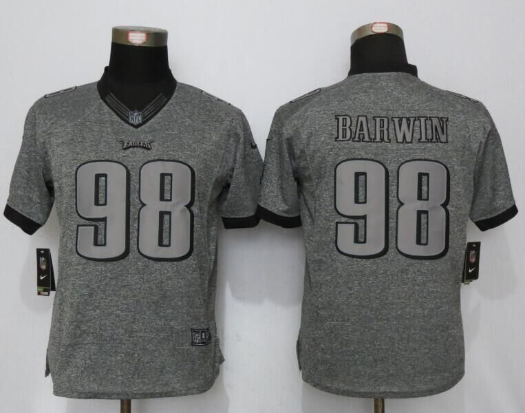 Womens Philadelphia Eagles 98 Barwin Gray Stitched Gridiron Gray New Nike Limited Jerseys