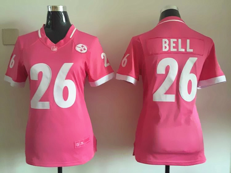 Womens Pittsburgh Steelers 26 Bell 2015 Pink Bubble Gum Jersey