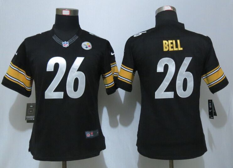 Womens Pittsburgh Steelers 26 Bell Black Nike Elite Jersey