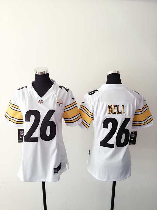 Womens Pittsburgh Steelers 26 Bell White Nike Jerseys