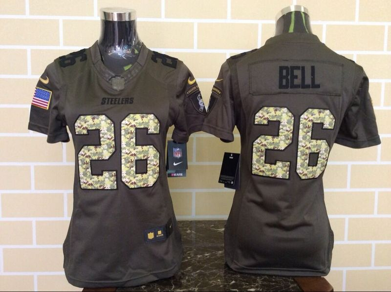 Womens Pittsburgh Steelers 26 Le'Veon Bell Green Nike Salute To Service Limited Jersey