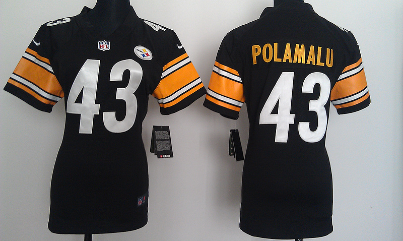 Womens Pittsburgh Steelers 43 Polamalu Black Nike Jerseys