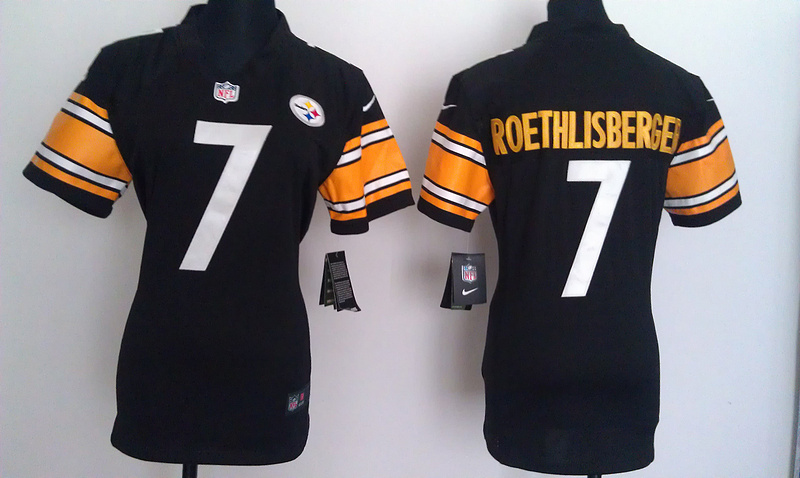 Womens Pittsburgh Steelers 7 Roethlisberger Black Nike Jerseys