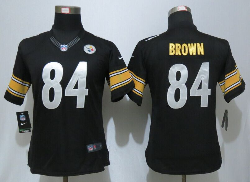 Womens Pittsburgh Steelers 84 Brown Black Nike Elite Jersey