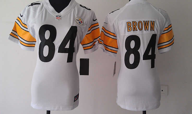 Womens Pittsburgh Steelers 84 Brown White Nike Jerseys