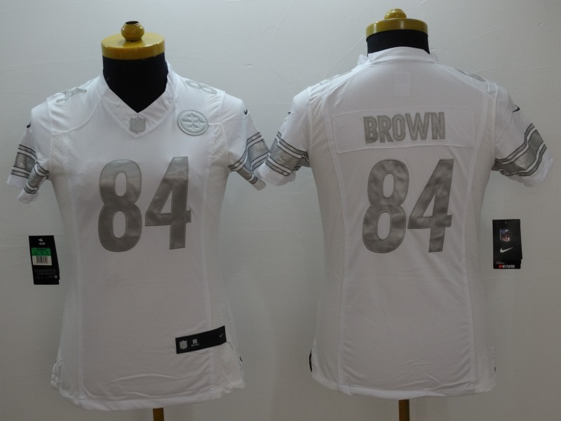Womens Pittsburgh Steelers 84 brown white 2015 Nike Platinum Jersey