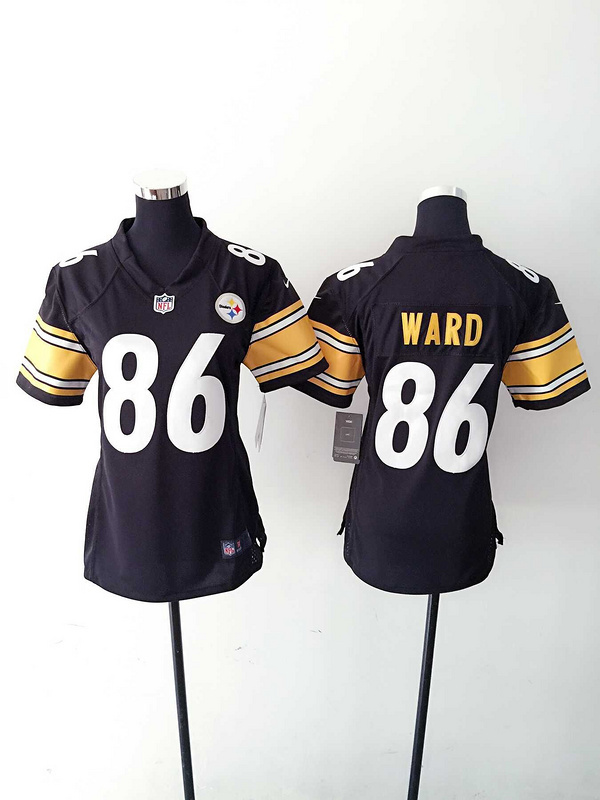 Womens Pittsburgh Steelers 86 Ward Black Nike Jerseys