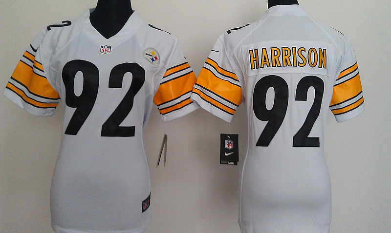 Womens Pittsburgh Steelers 92 Harrison White Nike Jerseys