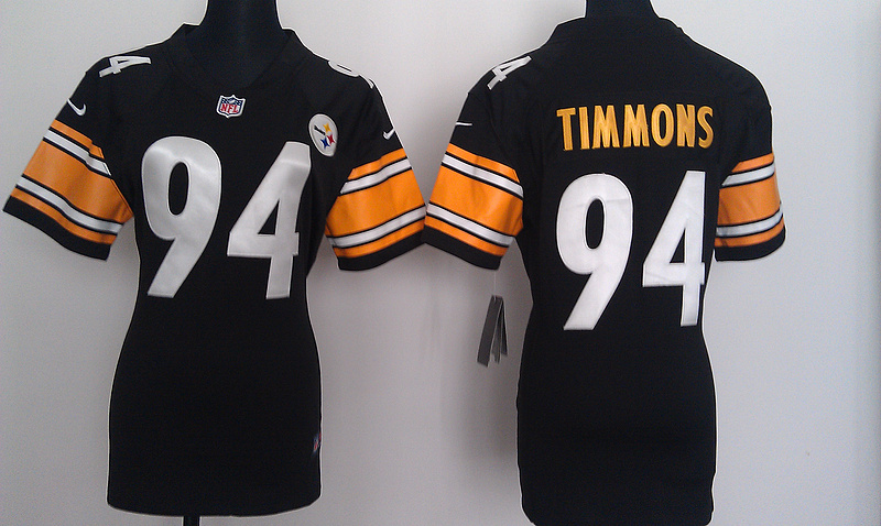 Womens Pittsburgh Steelers 94 Timmons Black Nike Jerseys