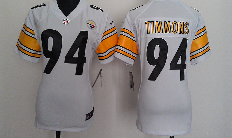 Womens Pittsburgh Steelers 94 Timmons White Nike Jerseys