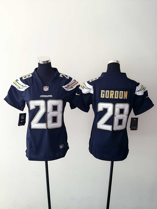 Womens San Diego Charger 28 Gordon Blue Nike Jerseys