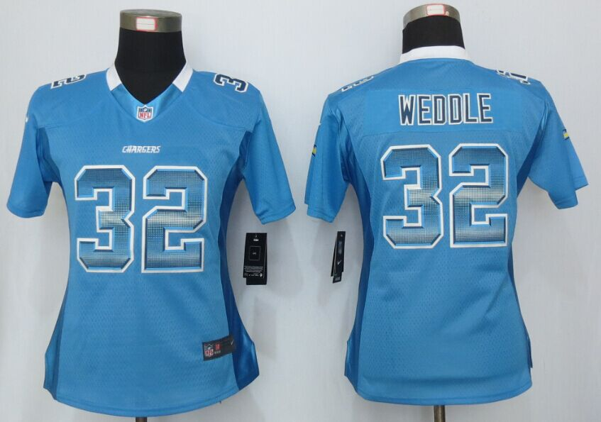Womens San Diego Charger 32 Weddle Blue Strobe New Nike Elite Jersey