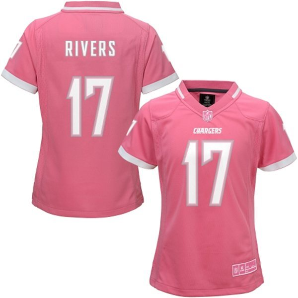 Womens San Diego Chargers 17 Rivers 2015 Pink Bubble Gum Jersey