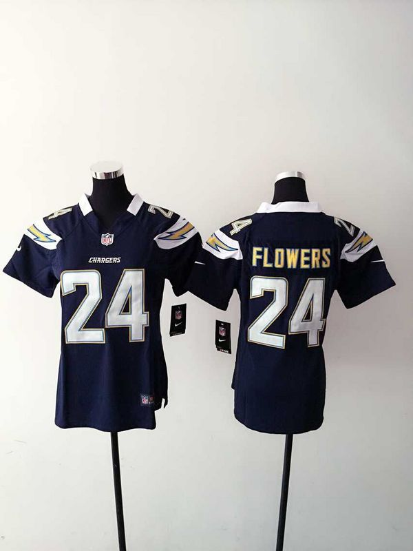 Womens San Diego Chargers 24 Flowers Blue 2015 Nike Jerseys