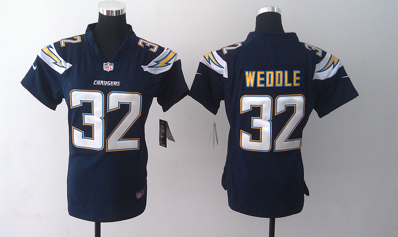 Womens San Diego Chargers 32 Weddle Blue Nike Jerseys