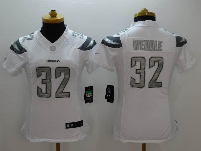 Womens San Diego Chargers 32 weddle white 2015 Nike Platinum Jersey