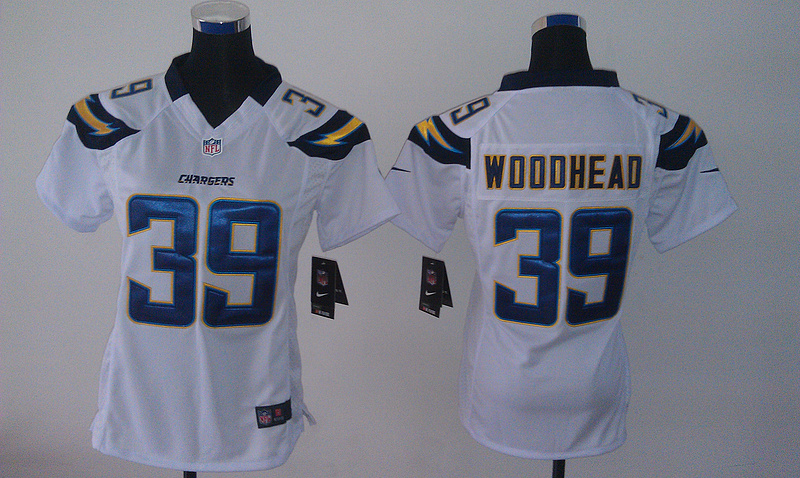 Womens San Diego Chargers 39 Woodhead White Nike Jerseys