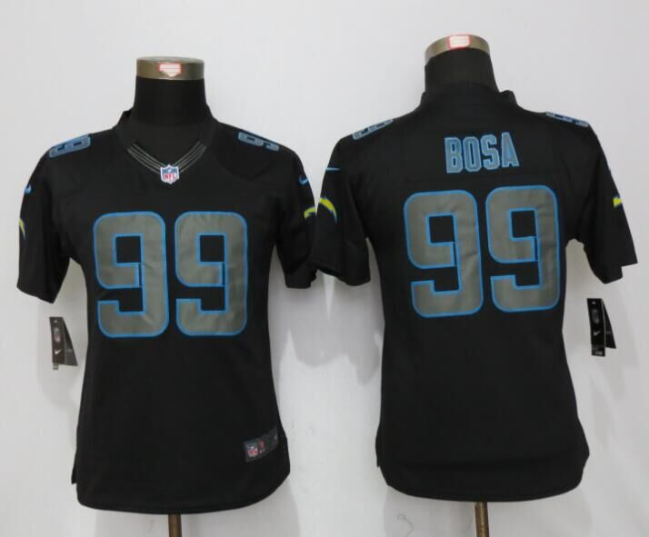 Womens Los Angeles Chargers 99 Bosa Impact Limited New Nike Black Jerseys