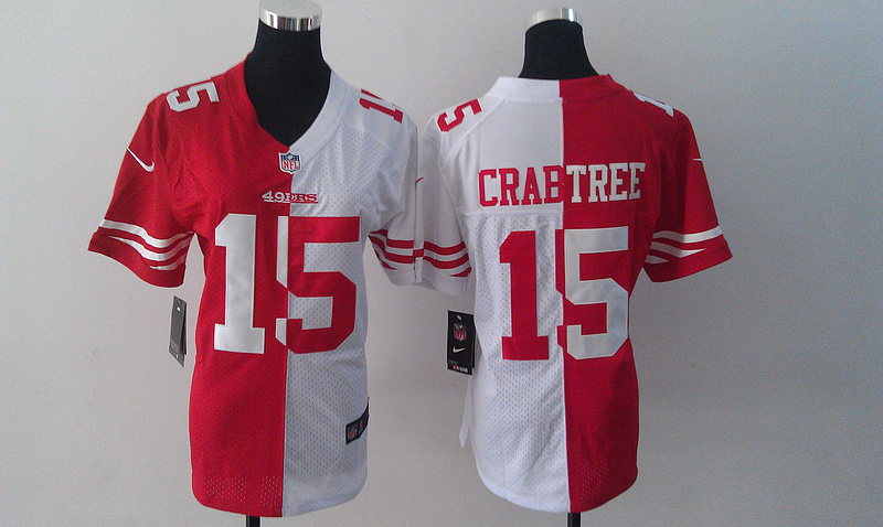 Womens San Francisco 49ers 15 Crabtree Red White Nike Split Jersey