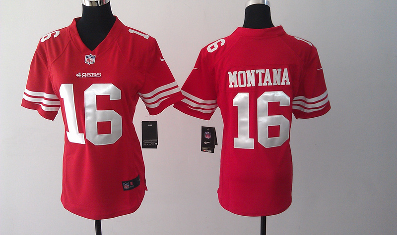 Womens San Francisco 49ers 16 Montana Red Nike Jerseys