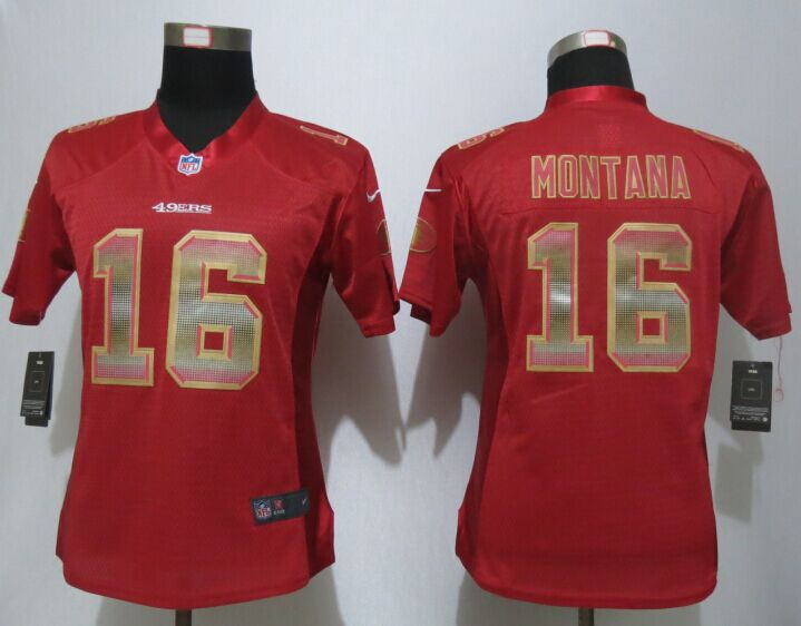 Womens San Francisco 49ers 16 Montana Red Strobe New Nike Elite Jersey