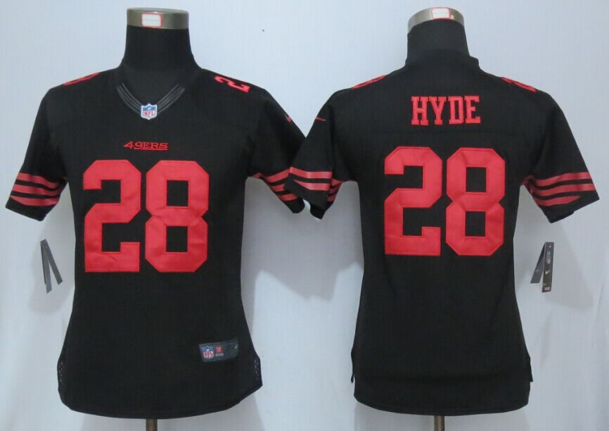 Womens San Francisco 49ers 28 Hyde Black New Nike Elite Jerseys