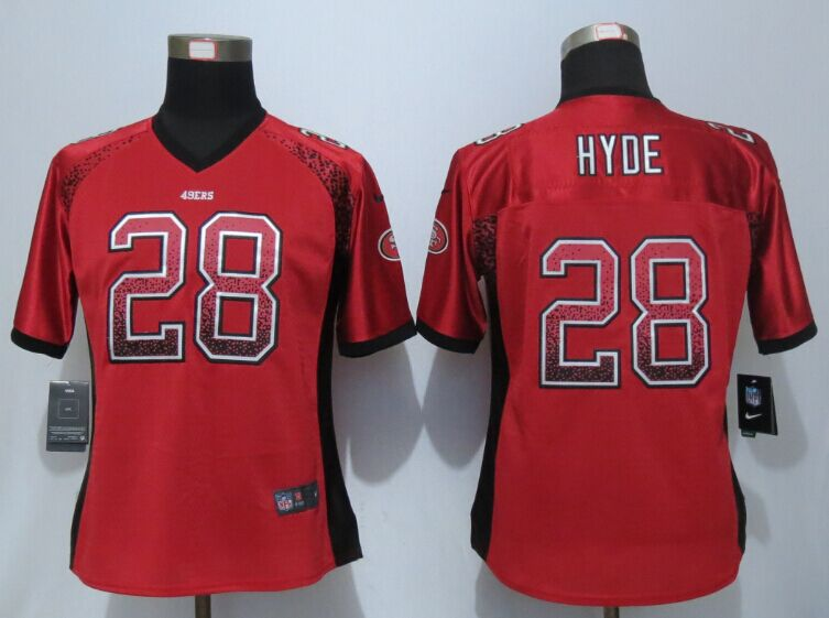 Womens San Francisco 49ers 28 Hyde Drift Fashion Red New Nike Elite Jerseys