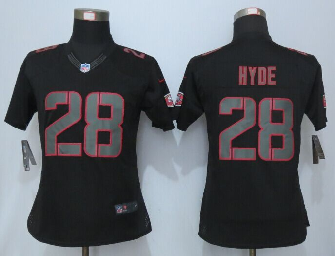 Womens San Francisco 49ers 28 Hyde Impact Limited Black New Nike Jersey