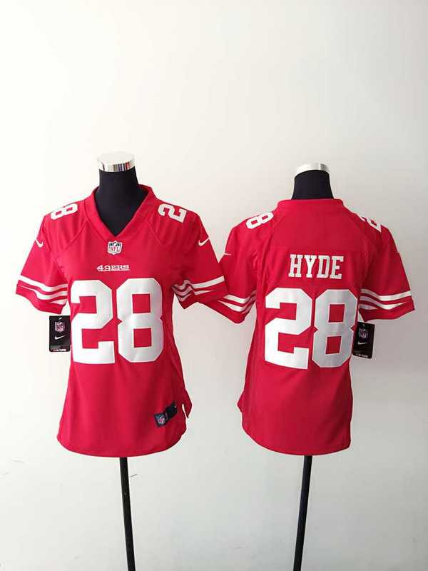 Womens San Francisco 49ers 28 Hyde Red 2015 Nike Jerseys