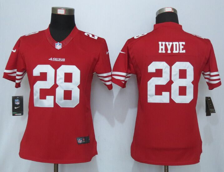 Womens San Francisco 49ers 28 Hyde Red New Nike Elite Jerseys