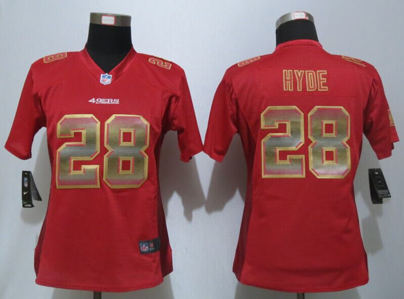 Womens San Francisco 49ers 28 Hyde Red Strobe New Nike Elite Jersey
