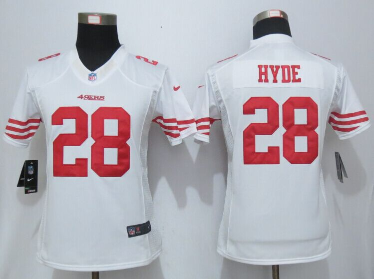 Womens San Francisco 49ers 28 Hyde White New Nike Elite Jerseys
