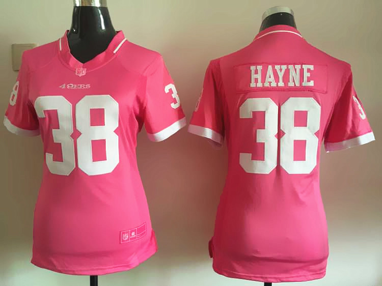 Womens San Francisco 49ers 38 Hayne 2015 Pink Bubble Gum Jersey