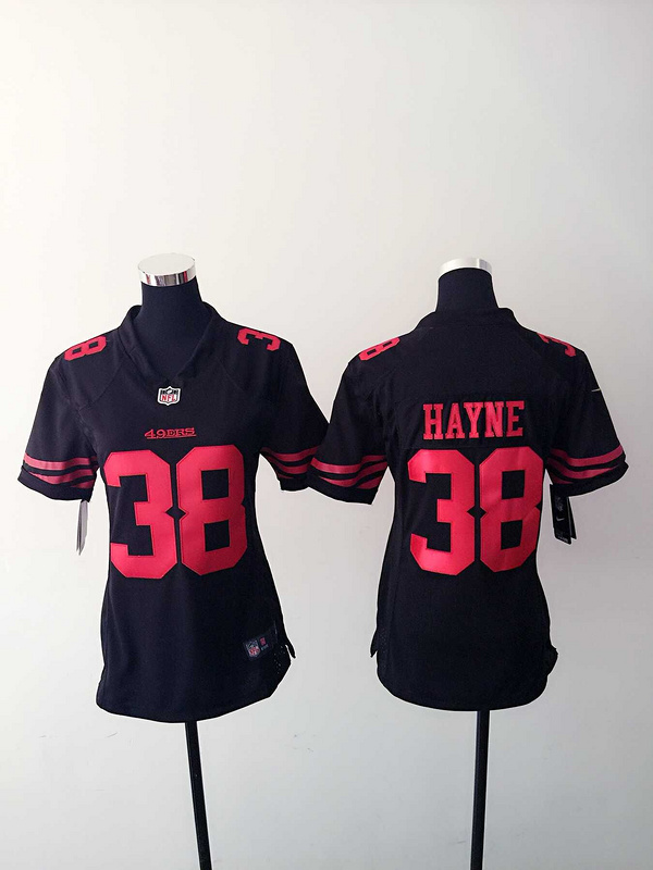 Womens San Francisco 49ers 38 Hayne Black Nike Jerseys