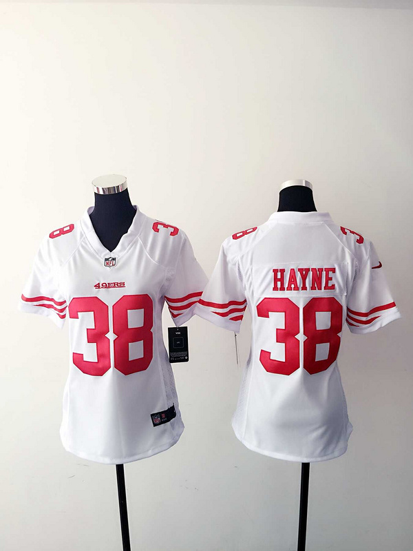 Womens San Francisco 49ers 38 Hayne White Nike Jerseys