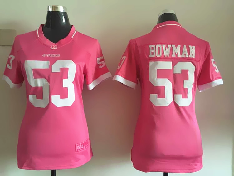 Womens San Francisco 49ers 53 Bowman 2015 Pink Bubble Gum Jersey