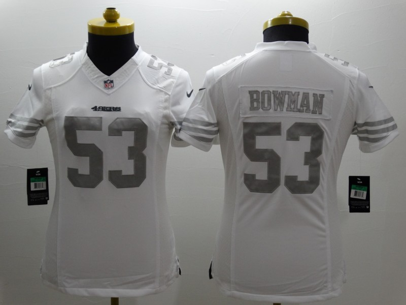 Womens San Francisco 49ers 53 Bowman Platinum White 2015 NEW Nike Limited Jerseys