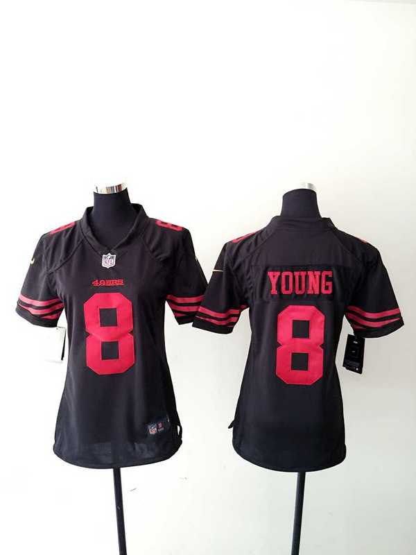 Womens San Francisco 49ers 8 Young Black Nike Jerseys