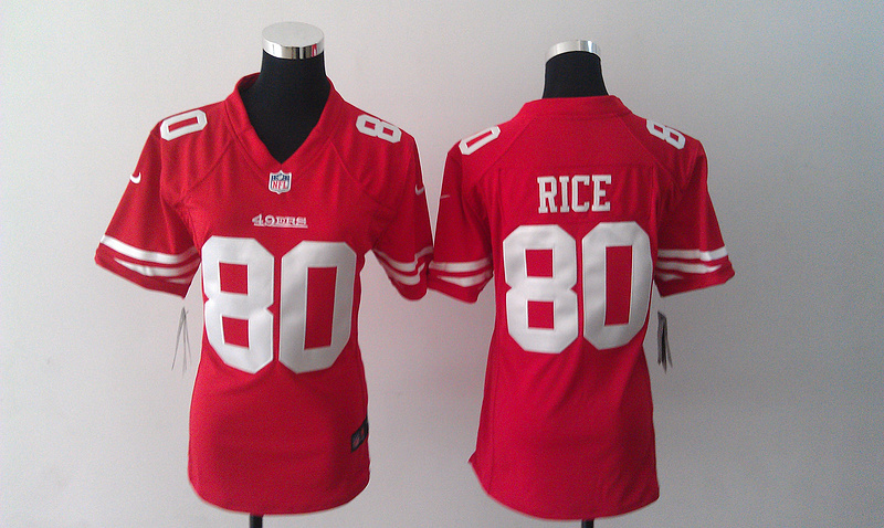 Womens San Francisco 49ers 80 Jerry Rice Red Nike Jerseys