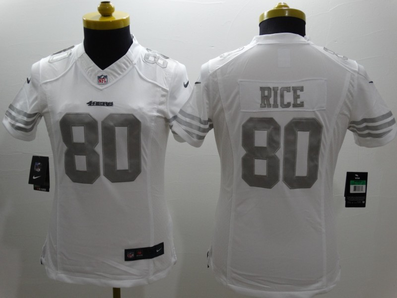 Womens San Francisco 49ers 80 Rice Platinum White 2015 NEW Nike Limited Jerseys
