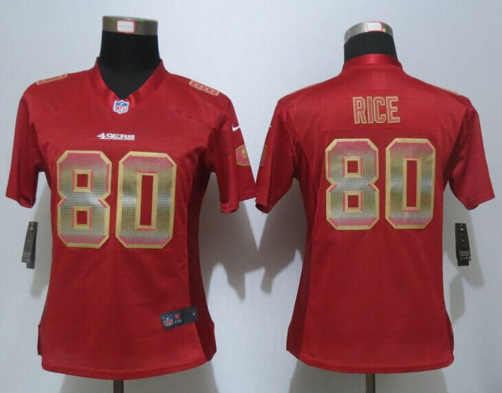 Womens San Francisco 49ers 80 Rice Red Strobe New Nike Elite Jersey