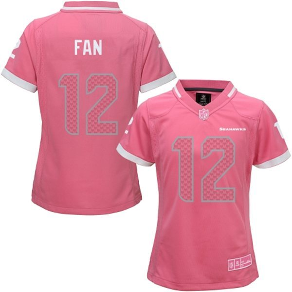 Womens Seattle Seahawks 12 Fan 2015 Pink Bubble Gum Jersey