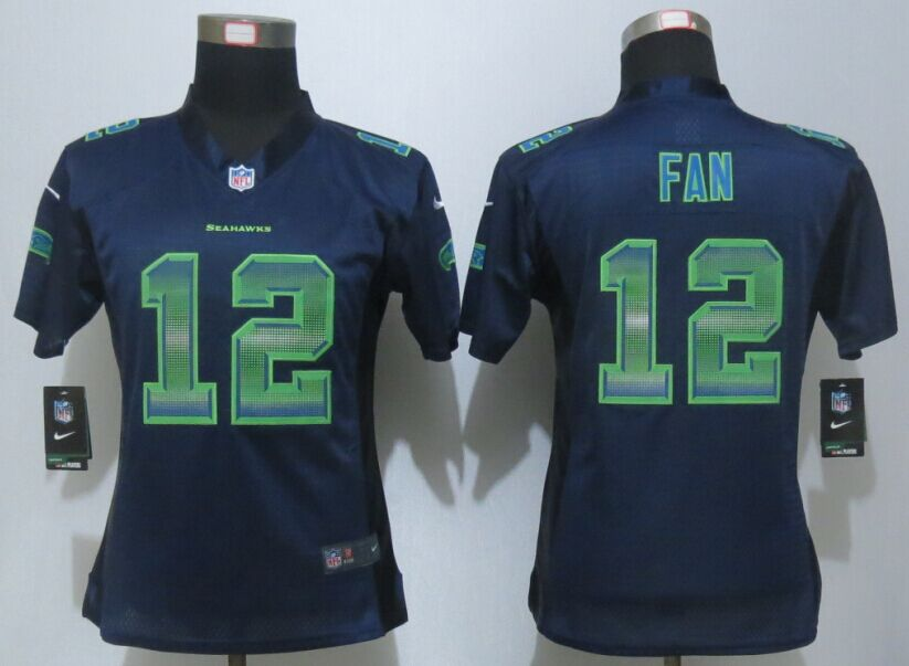 Womens Seattle Seahawks 12 Fan Navy Blue Strobe New Nike Elite Jersey