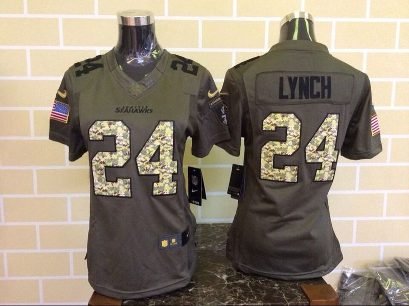 Womens Seattle Seahawks 24 Lynch Green Nike Salute To Service Limited Jersey.