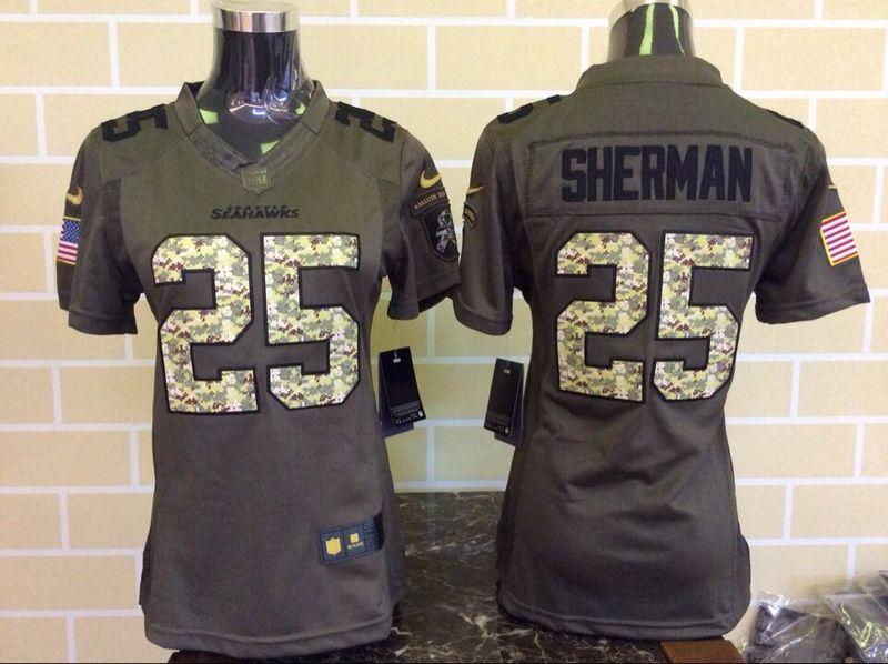 Womens Seattle Seahawks 25 Sherman Green Nike Salute To Service Limited Jersey