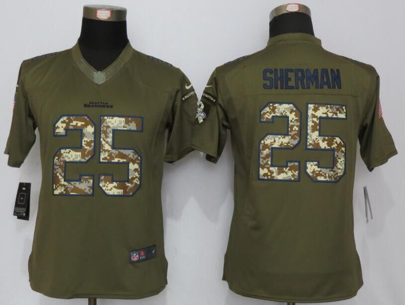 Womens Seattle Seahawks 25 Sherman Green Salute To Service New Nike Limited Jersey