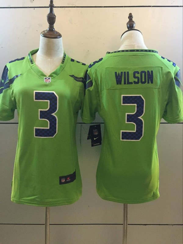 Womens Seattle Seahawks 3 Russell Wilson Green 2016 Nike Stitched NFL Limited Rush Jersey