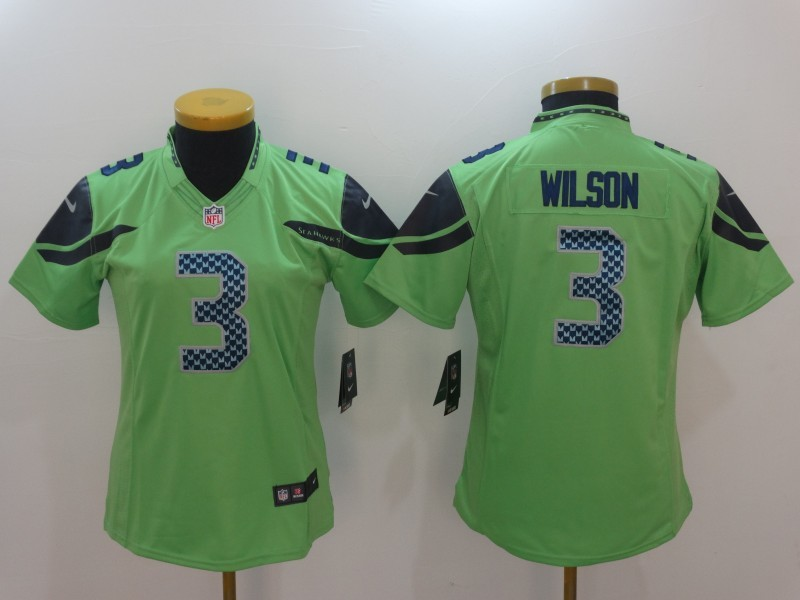 Womens Seattle Seahawks 3 Russell Wilson Green Color Rush Limited Jersey