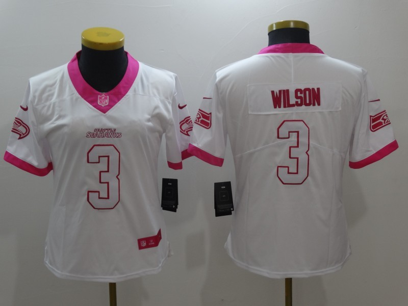 Womens Seattle Seahawks 3 Russell Wilson White Pink Stitched NFL Limited Rush Fashion Jersey